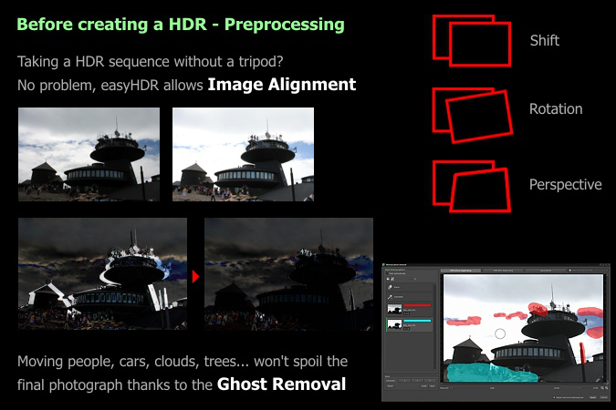 HDR image alignment and ghost removal